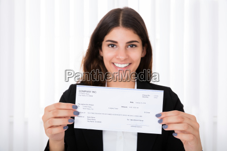 successful, businesswoman, showing, cheque - 19169975