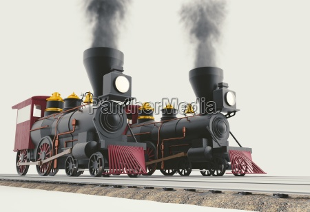 two old american steam locomotive 3d