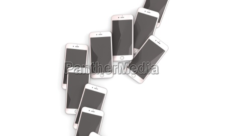 set of many realistic iphone isolated