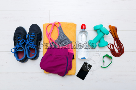 top view of fitness workout items