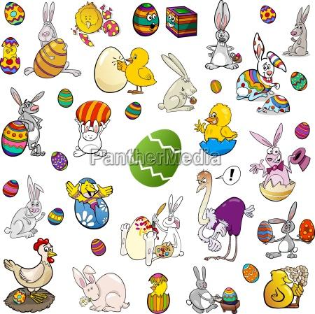 easter themes cartoon set