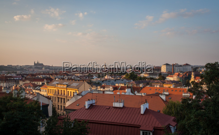 top view of prague city from