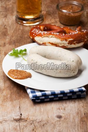 pair of bavarian white sausages