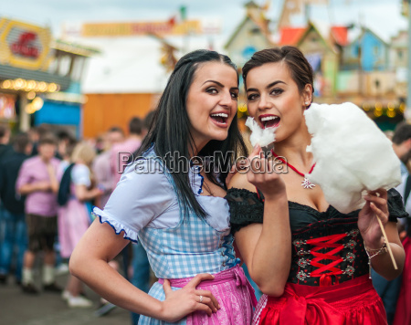 two young women in dirndl dress