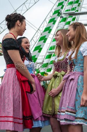 attractive and joyful woman at german