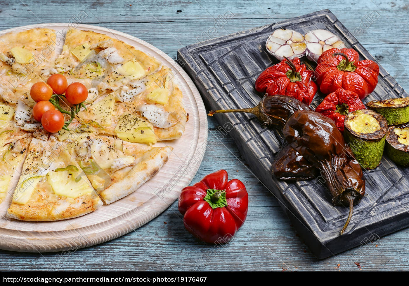pizza, and, baked, vegetables - 19176467