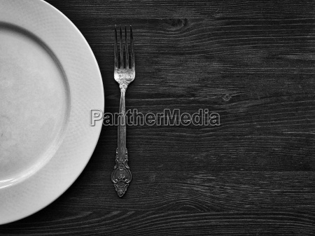 empty white plate with a fork