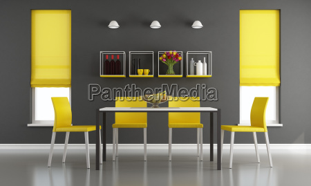 black, and, yellow, living, room - 19178967