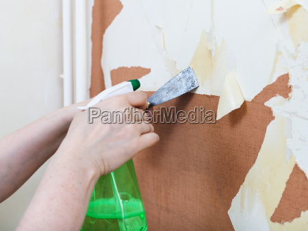 removing of old wallpaper with chemical