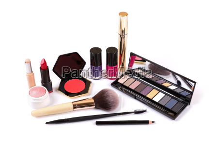 collection of makeup cosmetics isolated on