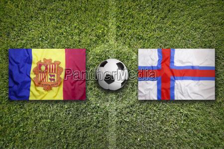 andorra vs faroe islands flags on