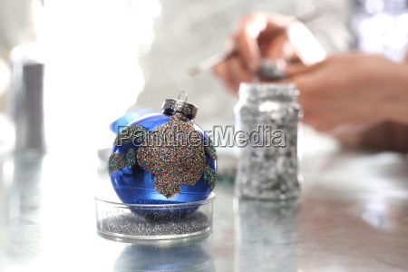 painting christmas baubles manufacture and crafts