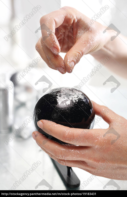 a, glitter, ball., the, woman, showers - 19183431