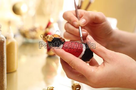 decorating, christmas, balls., brush, woman, paints - 19183291