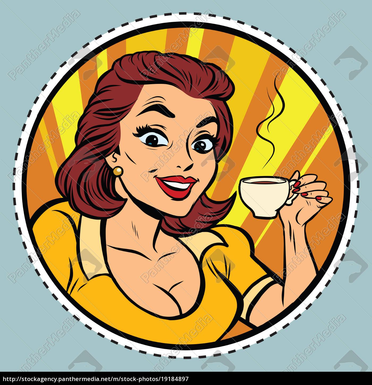 comic, young, beautiful, woman, drinking, coffee - 19184897
