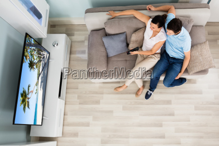 high angle view of couple watching