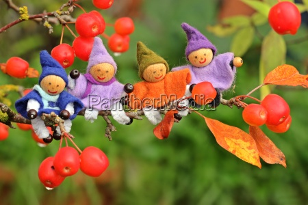 four little gnomes are sitting in