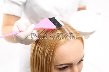 hair coloring in a hair salon