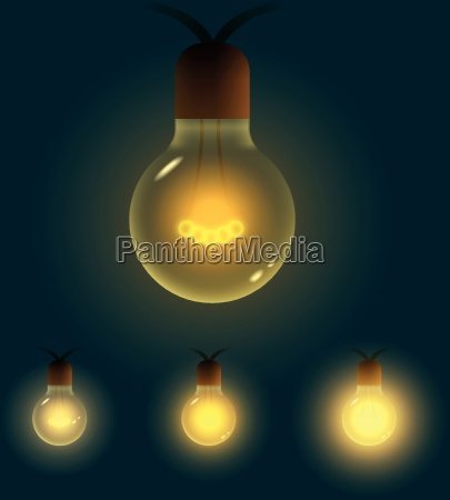 vector illustration of old lightbulb collection