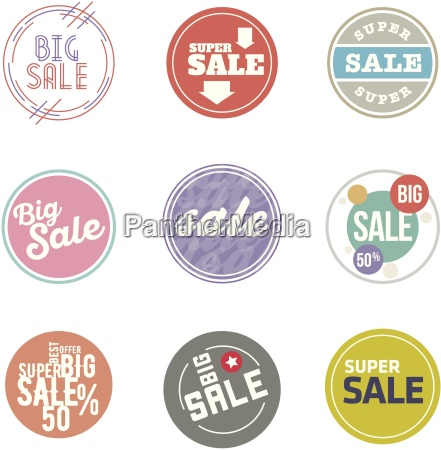 vector circle sale sticker set desaturate
