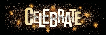celebrate banner with gold glitter vector