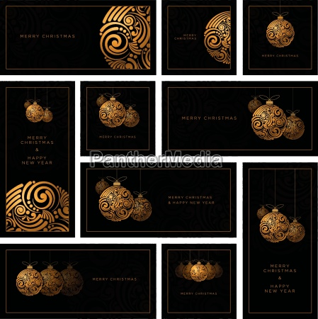 vector christmas black greeting card set