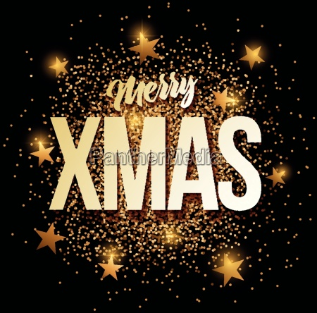 merry, xmas, banner, with, gold, glitter. - 19202857