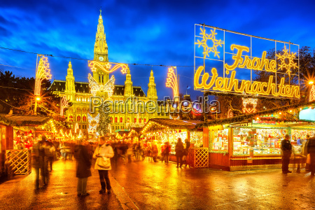 christmas market with merry christmas sign