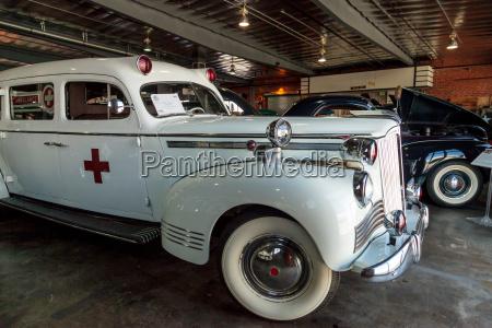 white 1942 packard ambulance