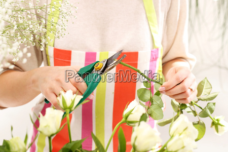 cutting the flower stems