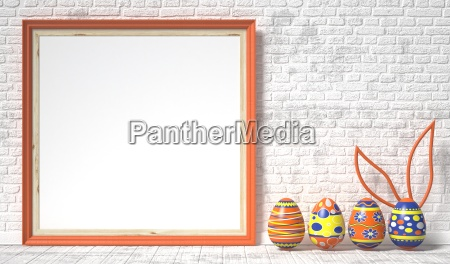 easter eggs painted and blank picture