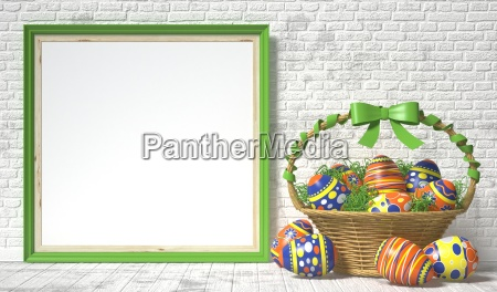 easter basket with decorated eggs on