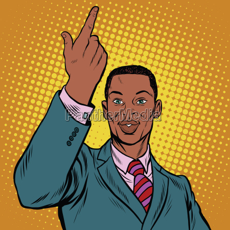 african american businessman pointing finger up