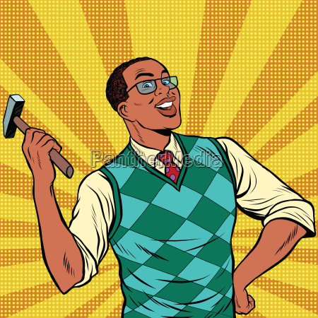 retro, man, with, a, hammer, for - 19212519