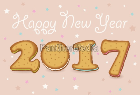 happy new year 2017 sweet cookies