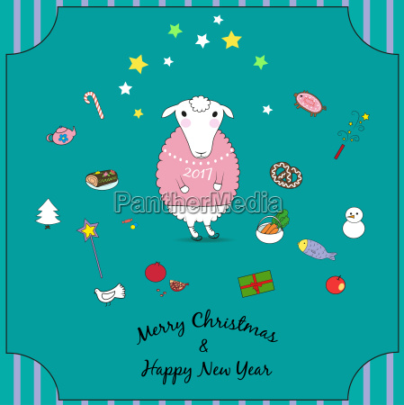 cartoon christmas sheep with sweater and