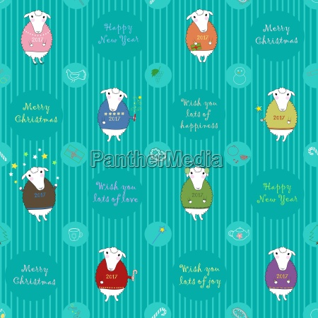 festive seamless pattern with cartoon sheeps