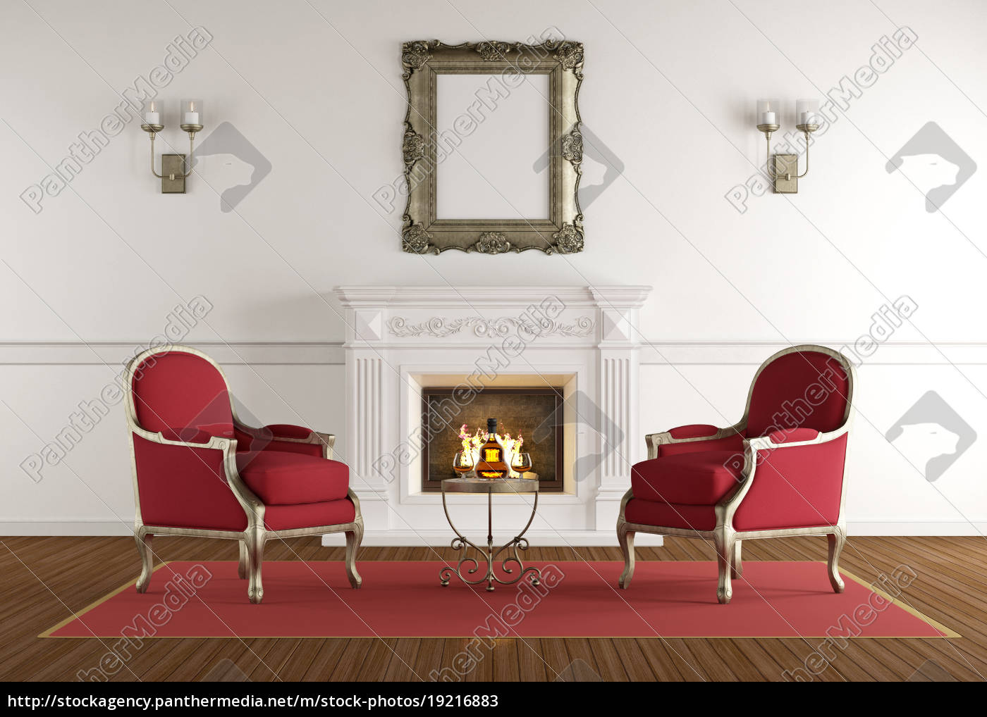 white, fireplace, in, a, classic, living - 19216883
