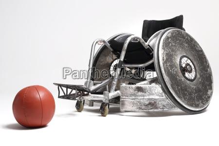 wheelchair and medicine ball