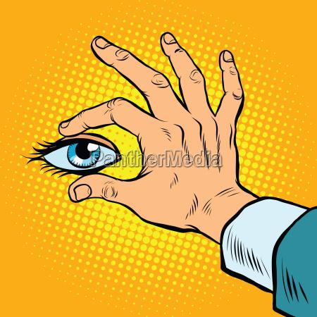 retro, hand, holding, eyes - 19217021