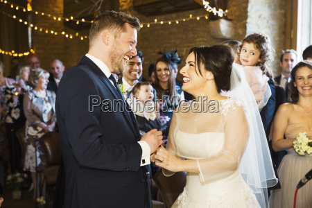 a bride and groom at their