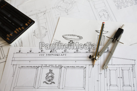 close up of design drawings for