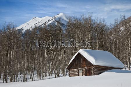 log cabin covered in snow in