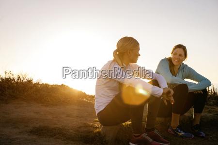 two young women take a break