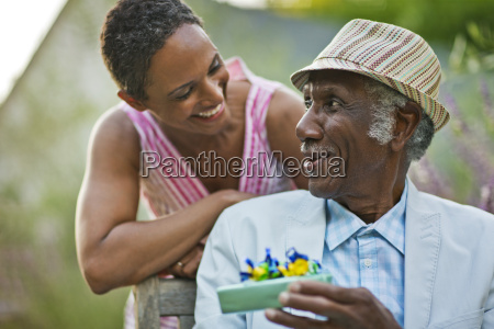 happy senior man smiling at his