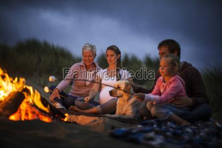 multi generational family enjoy toasting marshmallows