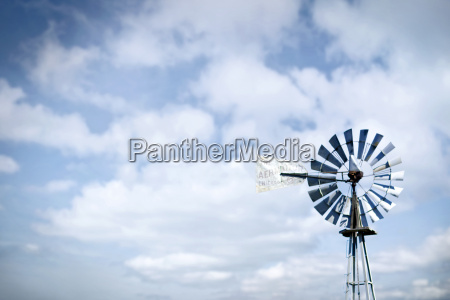 low angle view of windmill