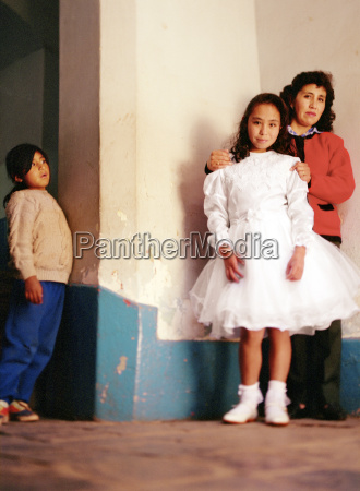 peruvian girl in white dress with