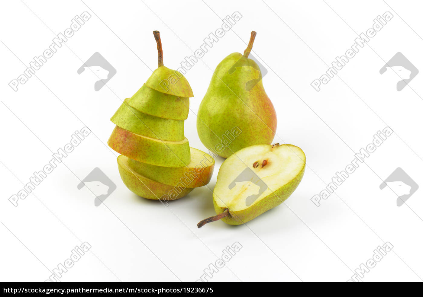 whole, , halved, and, sliced, pears - 19236675