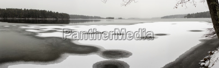 remote frozen lake in winter